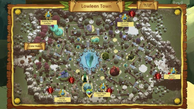 Ginger: Beyond the Crystal - Maps of the Three Hub Worlds: Lowleen Town, Crater Peaks and Bleepside Lake
