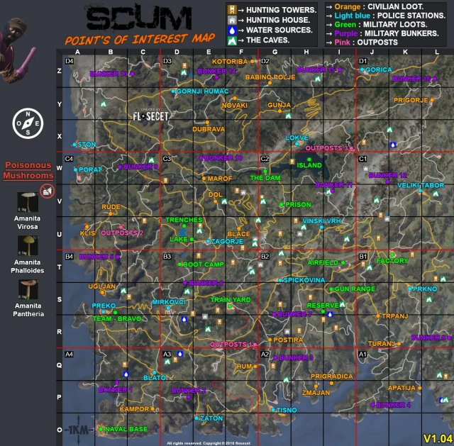 SCUM - Detailed Map (Points of Interest)