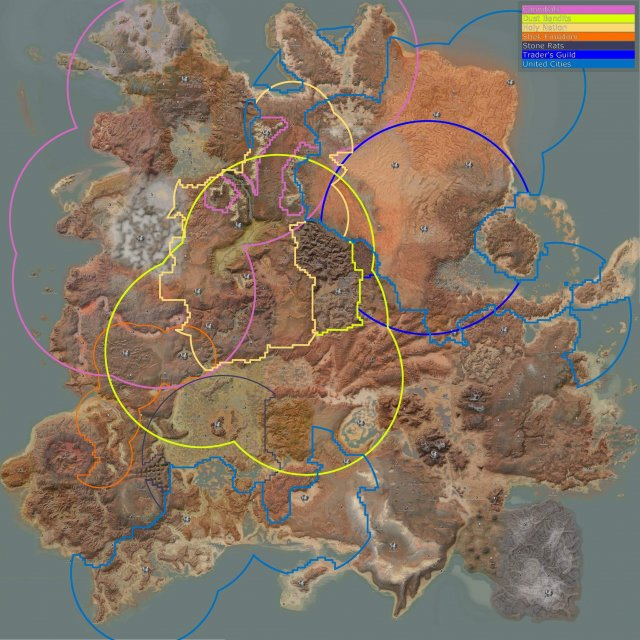 Kenshi - Faction Territory Map